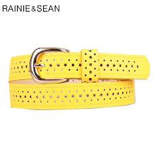 <b>RAINIE SEAN</b> Yellow Women Belt Hollow Out Pin Buckle Ladies ...