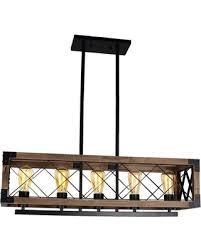 pendant lighting kitchen 5. Rustic Kitchen Island Light, 5-Light Square Wood And Metal Pendant Light Lighting 5