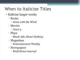 How To Write Titles Of Books Writings And Papers