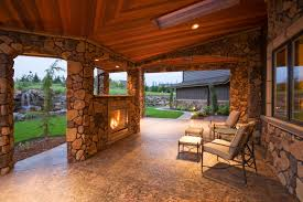 covered patio designs with fireplace. The Cedar Ceiling Of This Stone-encased Patio Provides A Stunning, Rich Tone To Covered Designs With Fireplace