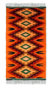 wool rug coca leaf 2x5 collectible geometric wool area rug