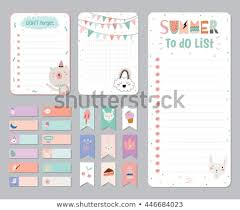 Planner Paper Template Cute Calendar Daily Weekly Planner Template Stock Vector Royalty