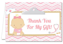 Thank You Notes For Nurses Baby Shower Thank You Cards Little Girl Nurse On The Way Thank You