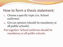 thesis statements no thesis no essay gives direction and focus  how to form a thesis statement  choose a specific topic ex