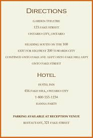 wedding accommodations template best wedding invitation directions card picture for wording
