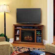 corner media console electric fireplace in oak
