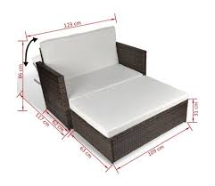 sofa bed chairs. VidaXL 3 In 1 Sofabed Set Folding Rattan Sofa Bed Furniture Brown[7/ Chairs