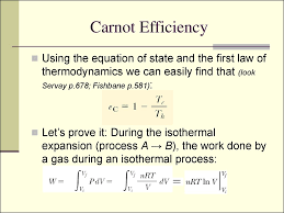 11 carnot efficiency using the equation of state and the first law of thermodynamics