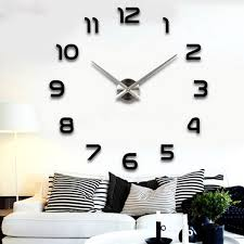 modern large 3d diy mirror surface art wall clock sticker home office room decor 1 black