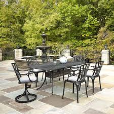 home styles largo 7 piece outdoor patio dining set with gray cushions