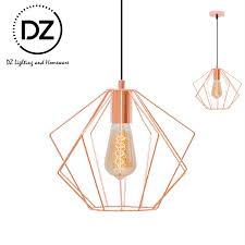 pendant lighting rose gold metal wire cage ceiling lamp modern nordic