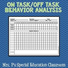 Off Task Behavior Chart On Task Off Task Behavior Analysis Task Analysis Behavior
