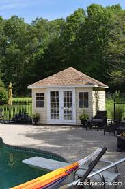 pool house. Brilliant Pool This Hip Roof Poolhouse Features Double Full Glass Doors And Vinyl Siding  Exterior With A Shingled Roof In Pool House