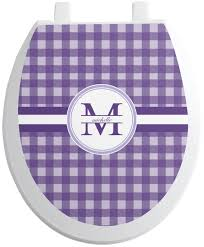 gingham print toilet seat decal personalized
