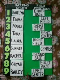 Baseball Lineup And Position Chart Batting Order Field Position Chart W Velcro Card So They