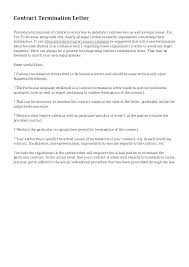 Letter To Terminate Contract With Supplier Vendor Letter Template Contractor Termination Sample