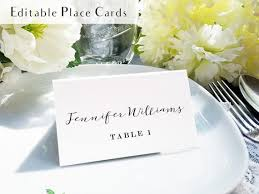 Place Setting Template Extraordinary Calligraphy Place Setting Card Printable Escort Card Name Etsy