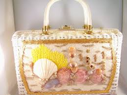 Seashell Design Princess Charming By Atlas Lucite Wicker Vintage Handbag