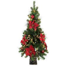 Northlight 55u0027 Musical Snowing Artificial Christmas Tree With Red Red Artificial Christmas Trees