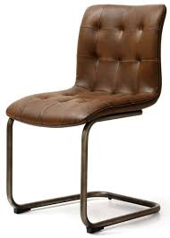 industrial faux leather on back dining chair pair