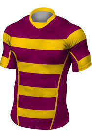 maroon gold stripe rugby shirt