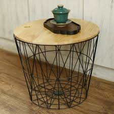 white black metal wire basket wooden top side