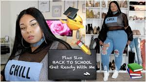 plus size back to grwm hair rless hair makeup outfit