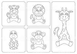 子供の塗り絵動物 虎ヘビ猿キリンレオライオン ぬりえブックのベクター
