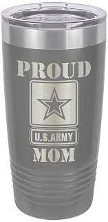 Mug and lid are dishwasher safe making them easy to clean. Amazon Com Proud Army Mom Grey 20 Oz Drink Tumbler With Straw Laser Engraved Travel Mug With Funny Quotes Compare To Yeti Rambler Mother S Day Gift Idea Onlygifts Com