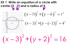 6 ex 1 write an equation of a circle with center 3 2 and a radius of 4