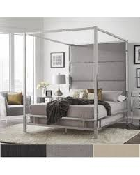 iNSPIRE Q Evie Chrome Metal Canopy Bed with Linen Panel Headboard by iNSPIRE Q Bold (Queen Size - Grey Linen) from Overstock | BHG.com Shop
