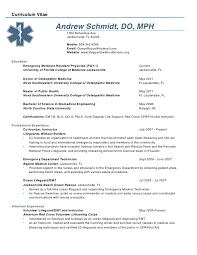 andrew schmidt cv - Emergency Medical Technician Resume