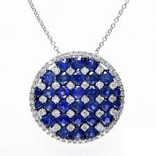 effy collection blue sapphire and 1 2 ct t w diamond pendant in 14k white gold