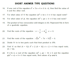 worksheet of quadratic equations class x chapter 4