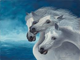 white painting three white horses by paul phyllis stuart