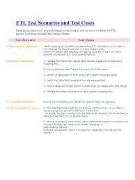 Etl Test Scenarios And Test Cases Information Science Computer