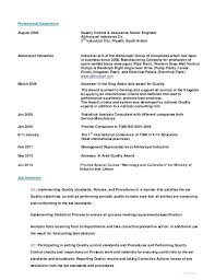 Quality Inspector Resume Resume For Quality Control Inspector
