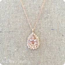 swarovski crystal blush pink faux diamond halo teardrop pendant rose gold bridal necklace morganite wedding jewelry bridesmaids gifts