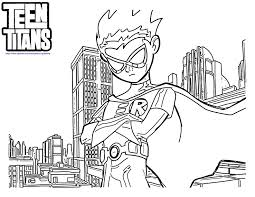Small Picture Teen Titans Go Robin Coloring Pages Coloring 4 Kids DC Super