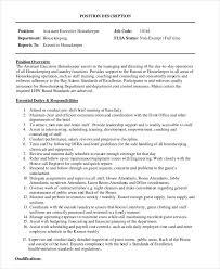 assistant executive housekeeper job description housekeeping job duties