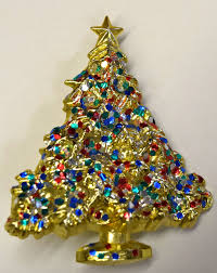 Christmas Brooches With Lights Vintage Christmas Tree Brooch Pin