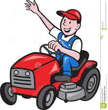 riding lawn mower cartoon. farmer driving ride on mower tractor stock photo riding lawn cartoon a