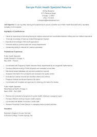 Resume Specialists Sample Public Health Specialist Resume Public Health