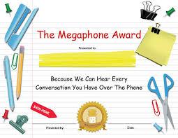 Certificates Printable Printable Certificates Megaphone Funny Award Buy Printabl