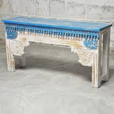 hall table white. Antique Indian Carved White Blue Console Hall Table