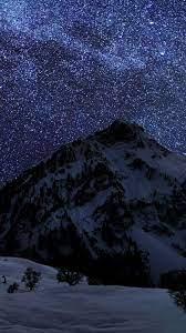Snow Mountain Night Sky Stars