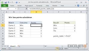Cricket Score Sheet 20 Overs Excel Excel Formula Win Loss Points Calculation Exceljet
