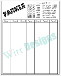 Canasta Score Sheet Template Best PDF 4444x44 Farkle Score Card Instant Download PDF File To Save And
