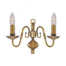 flemish traditional antique brass twin wall light