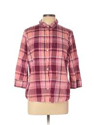 Details About Jcpenney Women Pink 3 4 Sleeve Button Down Shirt Xl Petite